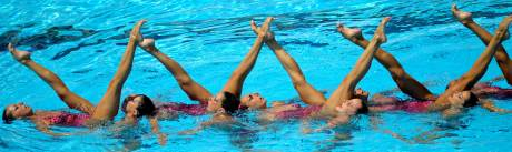 Members of Spain's team compete during the synchronized swimming free routine combination final at the World Championships in Rome